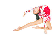 Beautiful Asian girl gymnast with a ball Royalty Free Stock Images