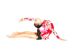 Beautiful Asian girl gymnast with a ball Royalty Free Stock Photography