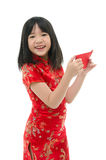 Beautiful asian girl holding ang pow or red packet monetary gift Stock Image