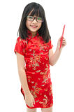 Beautiful asian girl holding red packet monetary gift Royalty Free Stock Photography