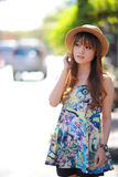 Beautiful asian girl. In park Stock Photography