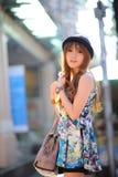Beautiful asian girl. In park Stock Photo