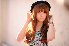 Beautiful asian girl. In park Stock Photos