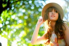Beautiful asian girl. In park Stock Image