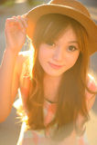 Beautiful asian girl. In park Royalty Free Stock Image