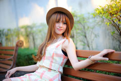 Beautiful asian girl. In park Royalty Free Stock Photography