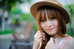 Beautiful asian girl. In park Royalty Free Stock Photo