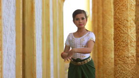 Beautiful Asian Girl performs cambodian folk dance in temple stock video footage