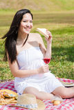 Beautiful asian girl picnic in the park Stock Photo