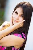 Beautiful Asian girl in pink dress Royalty Free Stock Image