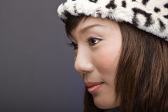 Beautiful asian girl in profile Stock Photo