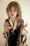 Beautiful Asian girl. Reaching out stock photos