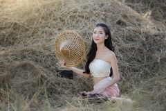 Beautiful asian girl  in the rice field. Stock Photo