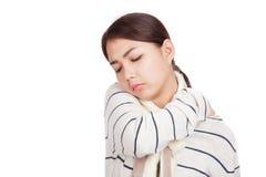 Beautiful Asian girl with scarf got back pain Stock Photos