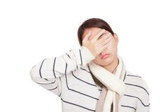 Beautiful Asian girl with scarf got headache Stock Photos