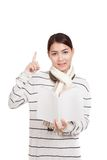 Beautiful Asian girl with scarf  read a book come with idea Royalty Free Stock Photography