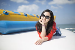 Beautiful asian girl in sea beach Stock Image