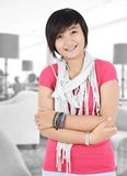 Beautiful Asian girl smiling. In the room Royalty Free Stock Image