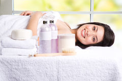 Beautiful asian girl in a spa Royalty Free Stock Images