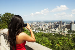 Beautiful Asian girl standing at tourist area Stock Image