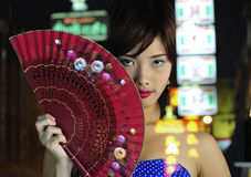 Beautiful asian girl in the street Stock Photo