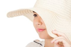 Beautiful Asian girl with sun hat Royalty Free Stock Images