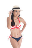 Beautiful Asian girl with swim suit Royalty Free Stock Photos