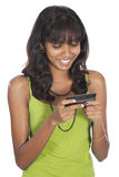 Beautiful asian girl texting on white background Stock Image