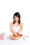 Beautiful asian girl washing face Royalty Free Stock Photo