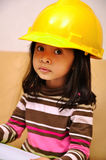 Beautiful Asian Girl Wearing Yellow Helmet Stock Photos