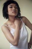 Beautiful Asian girl in white Stock Image
