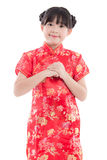 Beautiful asian girl wishing you a happy Chinese New Year Royalty Free Stock Image