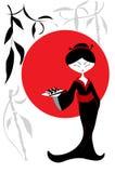 Beautiful Asian Girl With Sushi, Menu Template Royalty Free Stock Image