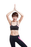 Beautiful Asian healthy girl do yoga pose. Royalty Free Stock Photos