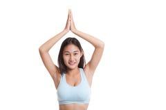 Beautiful Asian healthy girl do yoga pose. Stock Images