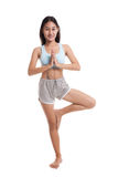 Beautiful Asian healthy girl do yoga pose. Stock Image