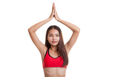 Beautiful Asian healthy girl do yoga pose. Stock Photo