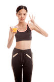 Beautiful Asian healthy girl drinking  orange juice show OK sign Royalty Free Stock Photography