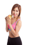 Beautiful Asian healthy girl enjoy eating  hamburger Royalty Free Stock Images