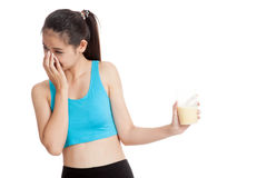 Beautiful Asian healthy girl hate whey protein Stock Photos