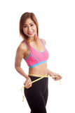 Beautiful Asian healthy girl measuring her waist Stock Photo