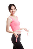Beautiful Asian healthy girl measuring her waist. Stock Image
