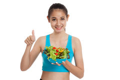 Beautiful Asian healthy girl thumbs up with salad Royalty Free Stock Image