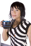 Beautiful Asian-Hispanic Girl Drinking Coffee Royalty Free Stock Images