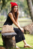 Beautiful Asian lady in black dress Royalty Free Stock Image