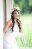 Beautiful Asian lady in white bride dress Royalty Free Stock Images