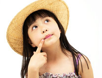 Beautiful asian little girl thinking Royalty Free Stock Photography