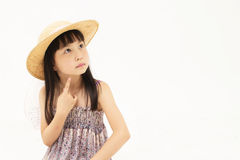 Beautiful asian little girl thinking Royalty Free Stock Photos