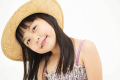 Beautiful asian little girl thinking Stock Image
