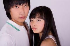 Beautiful asian loving couple royalty free stock photography